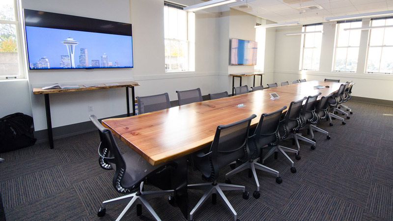 large conference room with wood table
